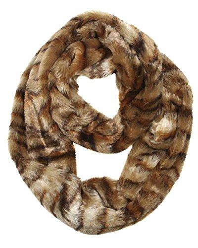 2Chique Boutique Women'S Tiger Print Faux Fur Infinity Scarf
