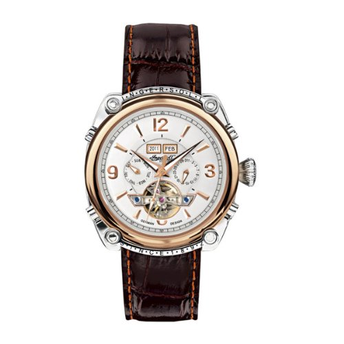 Ingersoll 'Montgomery' gents white dial dark brown leather strap watch