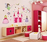 UberLyfe New Angel Castle Princess Fairy Wall Stickers (Wall Covering Area: 75cm x 120cm)