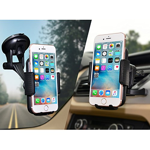 Car Mount,JAMRON 2-in-1 Universal Car Phone Mount Holder For Windshield Dashboard or Air Vent With Metal Vent Mount and Big Strong Suction Cup for iPhone 7/7 plus/6/6+/6s/6s plus/5s,Samsung S7/Note 5