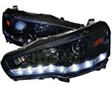 Spec-D Tuning 2LHP-EVO08G-8-TM Mitsubishi Lancer EVO X 10 Glossy Black R8 Style LED Projector Headlights