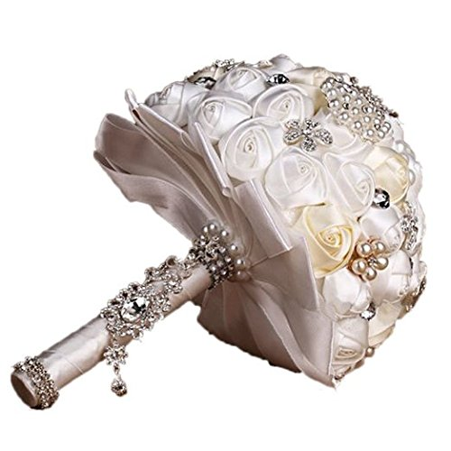 Engerla® Handmade Diamond Pearl Rhinestone Brooch Bridal Hold Flowers Wedding Bouquet