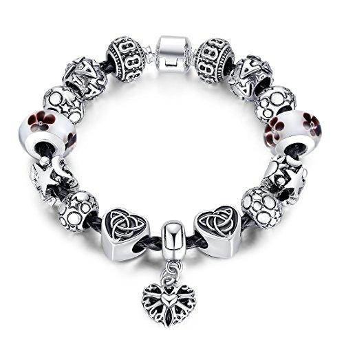 Bamoer Fashion Unisex Diy Bracelet Men Women Luxury Beads Bangle Jewelry (18 Centimeters)