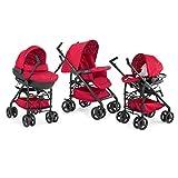 Chicco Trio Sprint Black - Sistema de paseo y viaje 3 en 1, capazo/carrito/coche, grupo 0+, color rojo