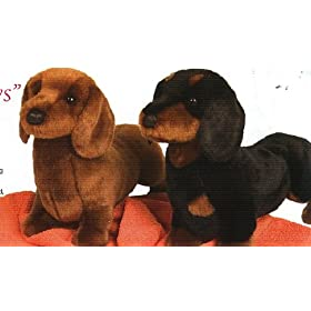 Stuffed Spats Black and Tan Dachshund
