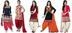 Maxthon Fashion Women's Printed Unstitched Regular Wear Salwar Suit Dress Material (Combo pack of 5)(Max_Combo_7085)(Max_3001_Blue)(Max_3046_Red)(Max_3002_Red)(Max_3008_Black)(Max_3032_Red)