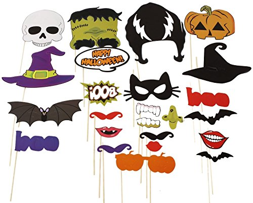 [Naice Photo Booth Props 24pcs DIY Kit for Halloween Party with Mustache, Pumpkins, Witch, Ghosts, Bats, Mouth on] (Cheap Homemade Halloween Games)