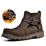 ZPL Couple models fashion winter leather boots , dark brown , 39 (male)