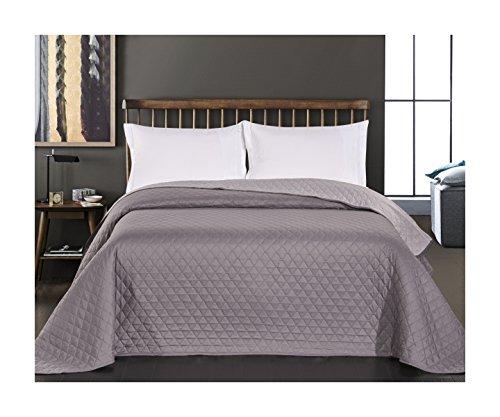 29732 Tagesdecke 220 x 240 stahl anthrazit grau silber Bettüberwurf zweiseitig pflegeleicht steel silver grey dimgray Axel