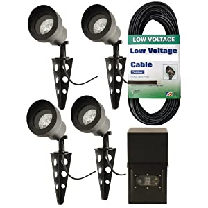 Low Voltage Outdoor Lighting Kit: Moonrays 95656 Low Voltage Metal Floodlight Kit with Power Pack