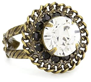 "Sorrelli ""Evening Moon"" Vintage Rope Edge Round Cut Clear Crystal Adjustable Ring"