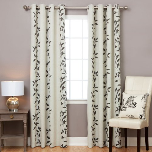 Best Home Fashion Leaf Print Thermal Insulated Blackout Curtains – Antique Bronze Grommet Top – Beige – 52″W x 84″L – (Set of 2 Panels)