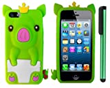 Neon Green Cute Pig Yellow Crown Silicone Skin Premium Design Protector Soft Cover Case Compatible for Apple Iphone 5 (AT&T, VERIZON, SPRINT) + Combination 1 of New Metal Stylus Touch Screen Pen (4