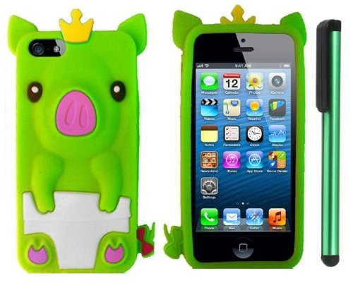 #1  Neon Green Cute Pig Yellow Crown Silicone Skin Premium Design Protector Soft Cover Case Compatible for Apple Iphone 5 (AT&T, VERIZON, SPRINT) + Combination 1 of New Metal Stylus Touch Screen Pen (4