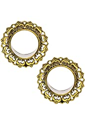"""Ornamental Brass Tunnel Double Flare Plugs - 0G-1"""" - Pair"""