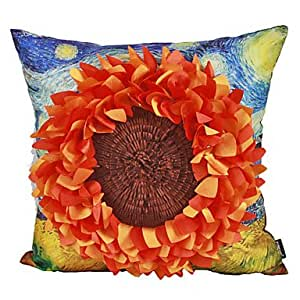 Decorative Pillows With Sunflowers : Amazon.com - Country Big Sunflower Cotton Decorative Pillow Cover - Throw Pillow Covers
