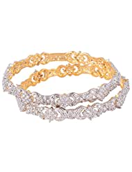 Bharat Sales Gold Plated White Alloy Bangles For Women - B00YPARW52