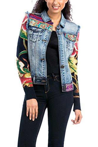 Desigual - CHAQ_ETHNIC DELUXE, Giacca da donna, blu (blau  (denim medium wash 5053)), 42 IT (M) (12 UK)