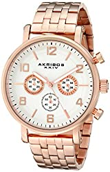 Akribos XXIV Mens AK800RG Chronograph Quartz Movement Watch with White Dial and Rose Gold Stainless Steel Bracelet
