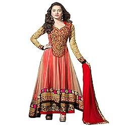 JINI Fashion Women's Net Lace Unstitched Anarkali Suit (nk1900_Red_Free Size)