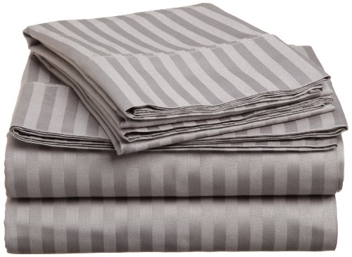 Impressions Genuine Egyptian Cotton 400 Thread Count Twin Xl 3-Piece Sheet Set Stripe, Grey back-781864