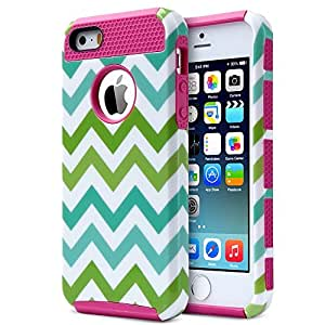 iPhone 5S, iLuvCell Dual Core Case with Hard Outer and Soft Inner Covers (Rose Pink)