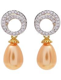 OM Gold Brass Clip-On Earrings For Women (OMEAR1)