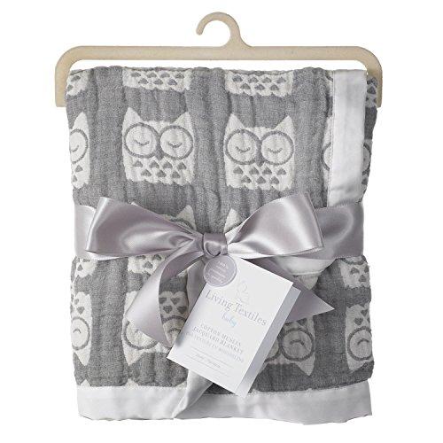 Living Textiles Muslin Jacquard Blanket, Grey Owl - 1