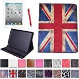 HDE Folding Leather Folio Case Cover for Apple iPad 2 3 4 w/ Screen Protector and Matching Stylus (Vintage UK Flag)