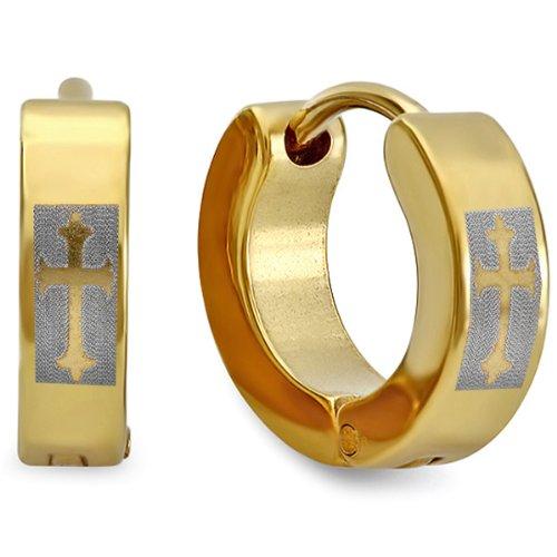 Stainless Steel Hip Hop Cross Design 18k Yellow Gold Plated Mens Ladies Unisex Huggie Hoop Earrings (13MM Length x 4MM Width)