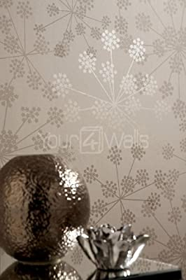 Sparkle Taupe Metallic Floral Wallpaper by 4YourWalls