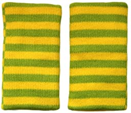 Protective Cotton Knee Pads for Children (9 Months to 8 + Yrs) - Outdoor / Indoor Use (Green and Yellow Stripes)