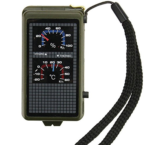 Best Survival Electronic Compass & 10-in-1 Camping Multi Tool - Includes LED Light, Thermometer, & Hygrometer