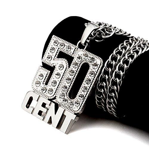 nyuk leader alla moda di Hip Hop gioielli uomo Retro spessore catena collana ciondolo 50Cent, Base, colore: Silver, cod. W-1786