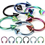 """(6pcs) Spikes Horseshoes Titanium IP Over 316L Surgical Steel 16G 3/8"""" 4mm Ball"""