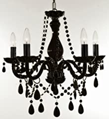 New Authentic All black Crystal Chandelier Lighting , 5 lights , FREE SHIPPING , H19