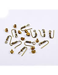Silvesto India 10 Pcs Hook With 10 Pcs Push Brass Plated US 19909 Accessories Jewelry