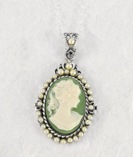 Sterling Silver Green Cameo and Pearlized Beads Frame Pendant Necklace, 16-18