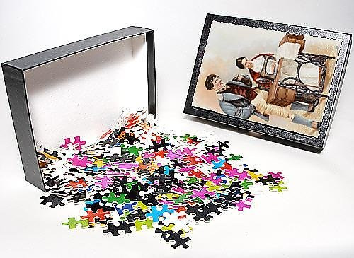 Photo Jigsaw Puzzle Of Lady From Londonderry Using A Singer Sewing Machine