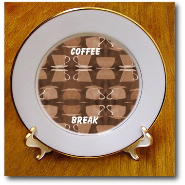 3Drose Cp_26554_1 Try A Coffee Break-Porcelain Plate, 8-Inch