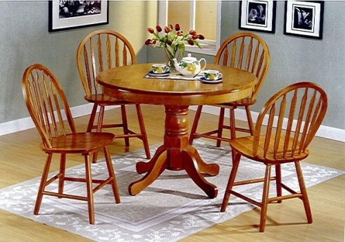 5pc country style oak finish wood round dining table and 4 windsor