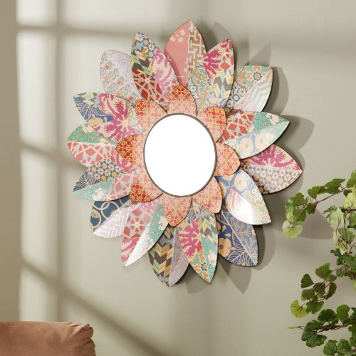 Multicolored Blossom Mirror - 33W x 33H in.