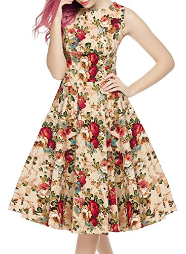 OWIN Women's Vintage 1950's Floral Spring Garden Picnic Dress Party Cocktail Dress 2