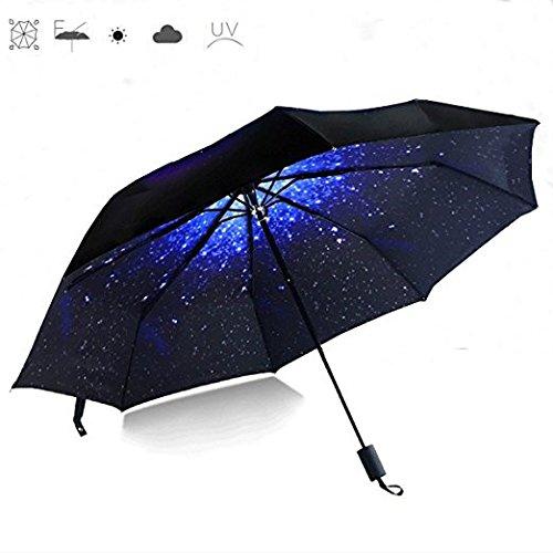 CAMTOA Ombrello, 50+ Anti Vento Anti-UV Pioggia / Sole Ombrello,Cielo Stellato Pieghevole Creativo Compatto e Leggero Parasol Telescopica Ombrello Per Viaggio Outdoor