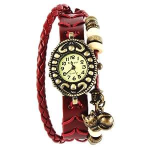 Yesurprise Montre quartz Vintage Avec pendentif Chat Knitted Bracelet en cuir Classique Bronze cadran 5 couleurs -2