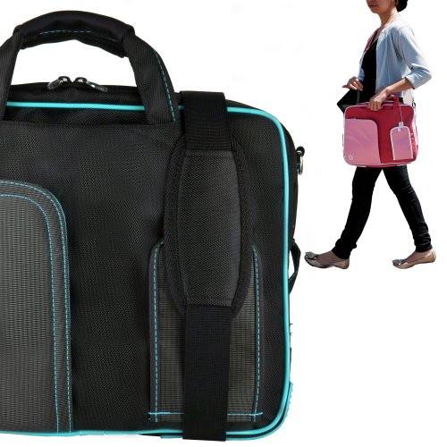 Stylish ASUS K53U 16 Inch Notebook Accessories Pindar Shoulder Bag with Removable Shoulder Strap in Jet Black with Sky Blue Trim