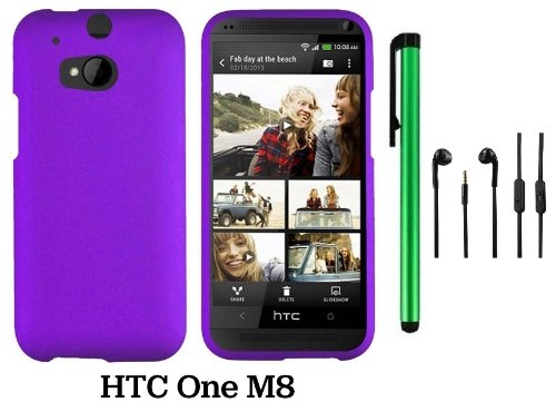 Htc One (M8) Solid Plain Color Hard Protector Cover Case (For 2014 Htc New Flagship Android Phone; Carrier: Verizon, At&T, T-Mobile, Sprint) + 3.5Mm Stereo Earphones + 1 Of New Assorted Color Metal Stylus Touch Screen Pen (Purple)