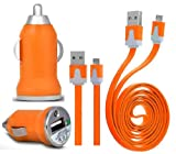 Wayzon ORANGE Vehical Travel iN Car Charger Adapter In Bullet Shape With Flat 2.0 Micro USB Sync Data Cable Lead Suitable For Samsung E2152 / E2252 / E2330 / E2370 Xcover / E2600 / E2652 Champ Duos