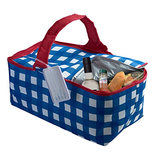 Find Cheap Large Insulated Zippered Picnic Tote Bag with ID Tag, Foldable Blue/White/Red Gingham Sty...