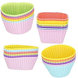 [24 Pack] BACKGARDEN Silicone Baking Cups Cupcake Bakeware Liners Cake Muffins Candle Soap Case Molds Sets